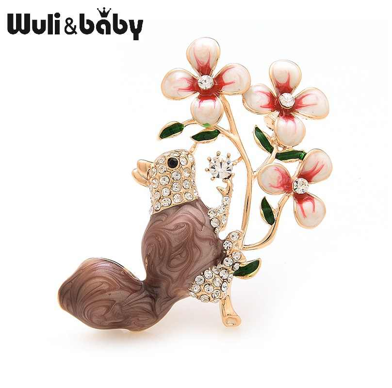 Wuli&baby Enamel Squirrel Climbing Tree Brooches Weddings Banquet Brooch For Women And Men Christmas Gifts