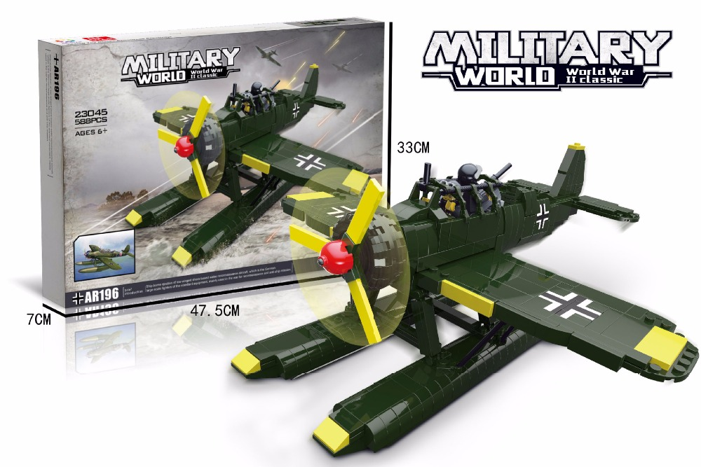 Military ww2 Ar196 reconnaissance aircraft building block world war air figures bricks educational toys collection for kids gift loz mini diamond block world famous architecture financial center swfc shangha china city nanoblock model brick educational toys