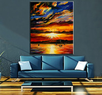 Pittura a olio di paesaggio mare e barca pittura a olio della tela di canapa dipinta moder astratta dipinti ad olio tramonto tela Vela paitnings