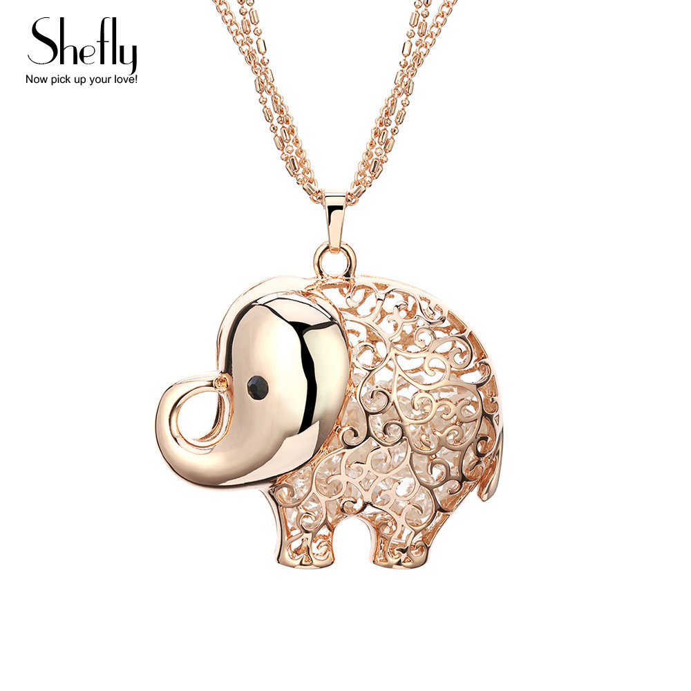 Wholesale Price Cute Elephant Pendant Necklace CZ Crystal Inside Silver And Rose Gold Color Long Necklace for Girls Woman Gifts