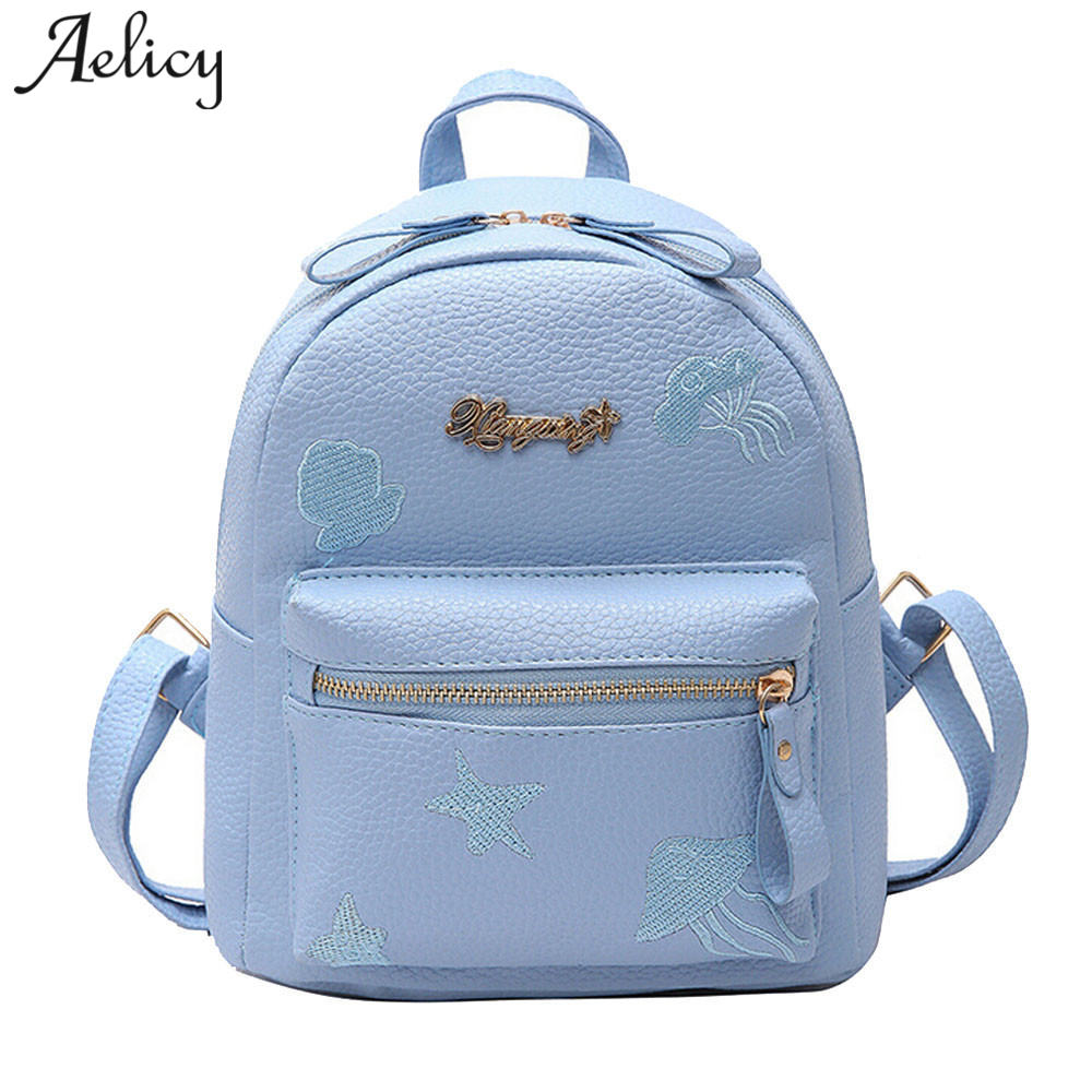 Aelicy Preppy Style Women Backpack Mini PU Leather Backpack Schoolbags for Teenage Girls Female Backpack Rucksack Mochilas