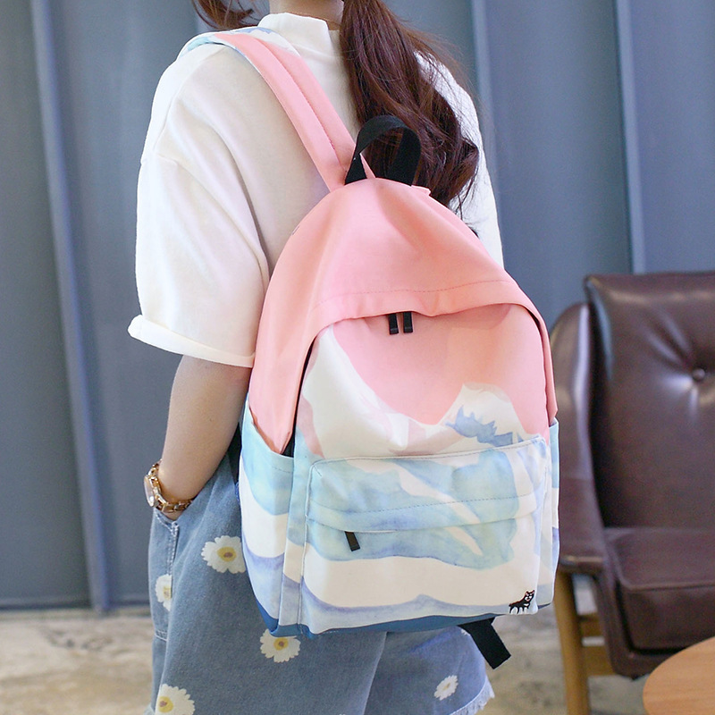 Moon Wood Landscape Printing Backpack Canvas School Travel Shoulder Bags Girls High Quality Candy Color Leisure Laptop Back Pack #6