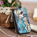 2017 New Women's Multifunction Printing Key Wallet Head Layer Leather  Causal Key Bag Cover Zipper High Quality Solid  Key Case