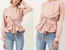2017 Fashion New Pink Belted Lace Up Satin Long Sleeve Shirt Women Fall Summer O Neck Lantern Sleeve Ruffle blouse