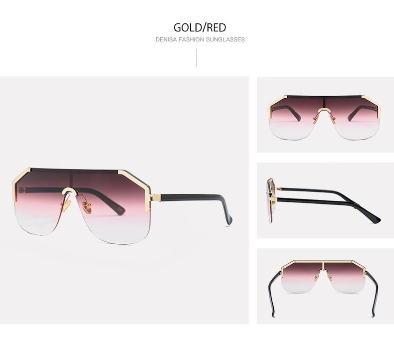 DENISA One Piece Lens Sunglasses Men Brand Designer Shield Style Sun  Glasses Female 2018 New Semi-Rimless Glasses For Fishing Anti-glare Eyewear  Boys ... 56004fda89b