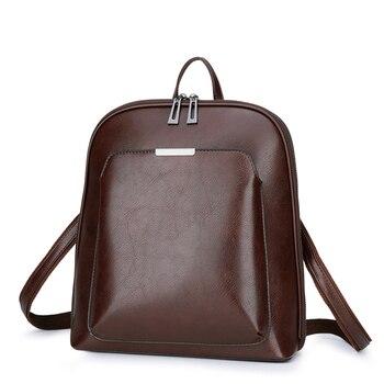 Vintage Women Backpack School Bags for Teenage Girls Shoulder Bag Female Oil Wax Leather Backpacks Mochilas Mujer 2018 Bagpack