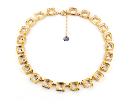 Artilady gold plated new choker necklace fashion Geometric squares crystal necklace