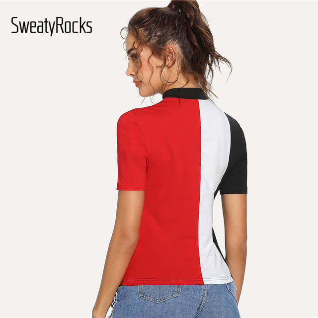 496ef35c2f2cd SweatyRocks Multicolor Mock Neck Cut And Sew Top Tee Stand Collar Patchwork  Women Shirts Summer Athleisure