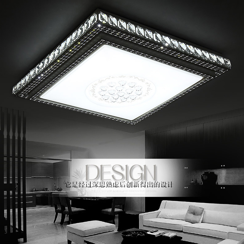 Warm and creative led living room master bedroom light room study light dining square crystal ceiling lamp LO81817