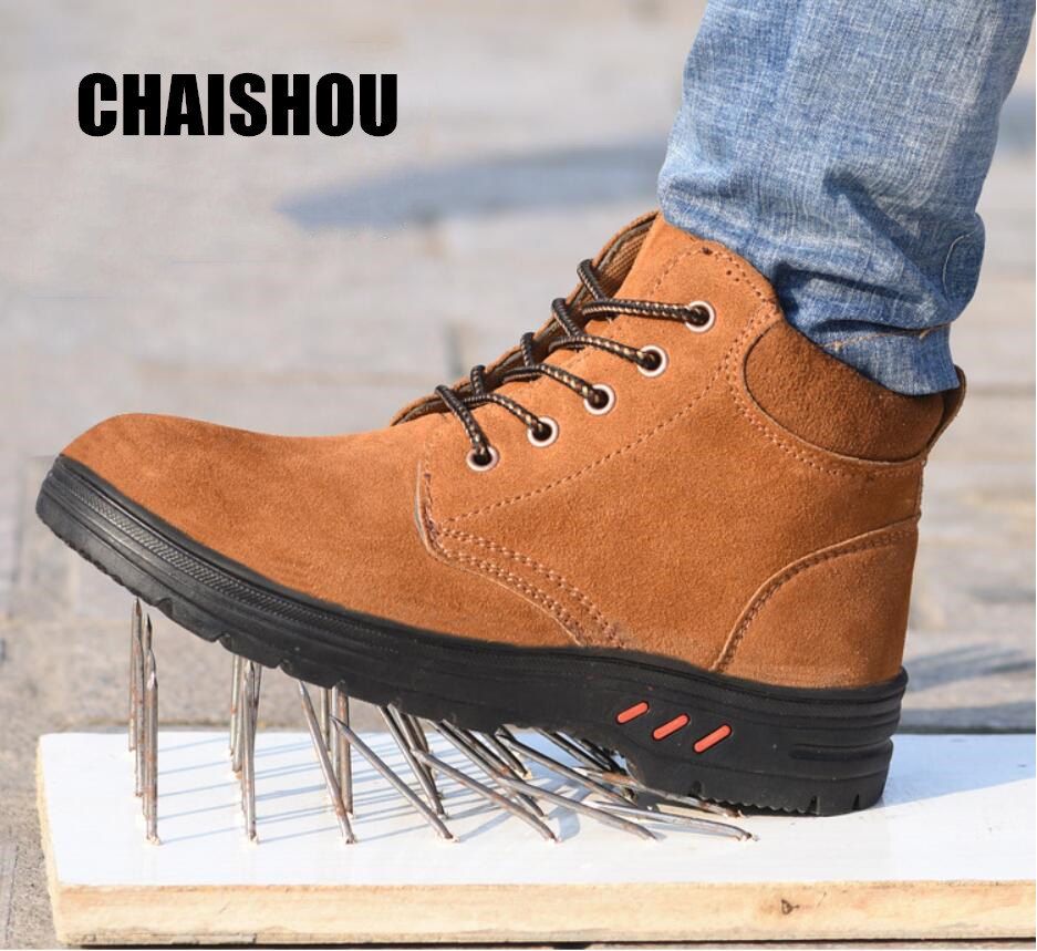 Man Shoes Boots Cow Suede Steel Head Anti-smashing Anti-piercing Breathable Men Casual Outdoor Safety Protective Work Shoes C219