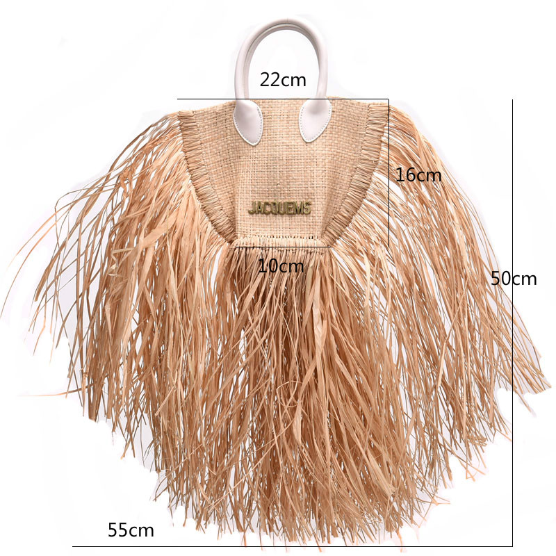 Image 5 - fashion tassel straw bags rattan weave women handbags designer luxury handmade paper shoulder crossbody bags summer beach purses-in Shoulder Bags from Luggage & Bags