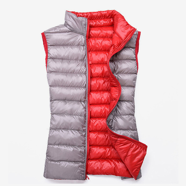 e773885fae2 Women s Duck Down Reversible Vests Casual Stand Collar Sleeveless Quilted  Female Jacket 2018 Autumn Winter Warm Lady Waistcoat