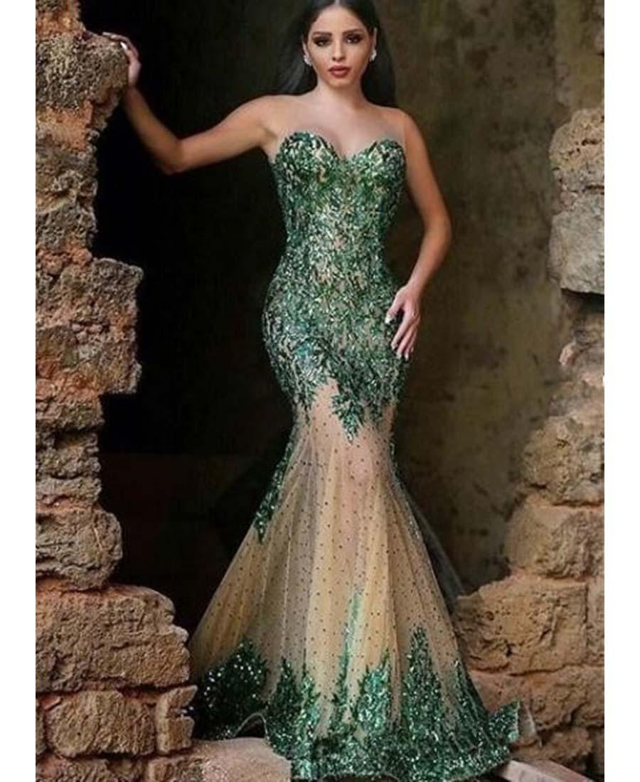 dark emerald sequins mermaid prom dresses 2016 sweetheart
