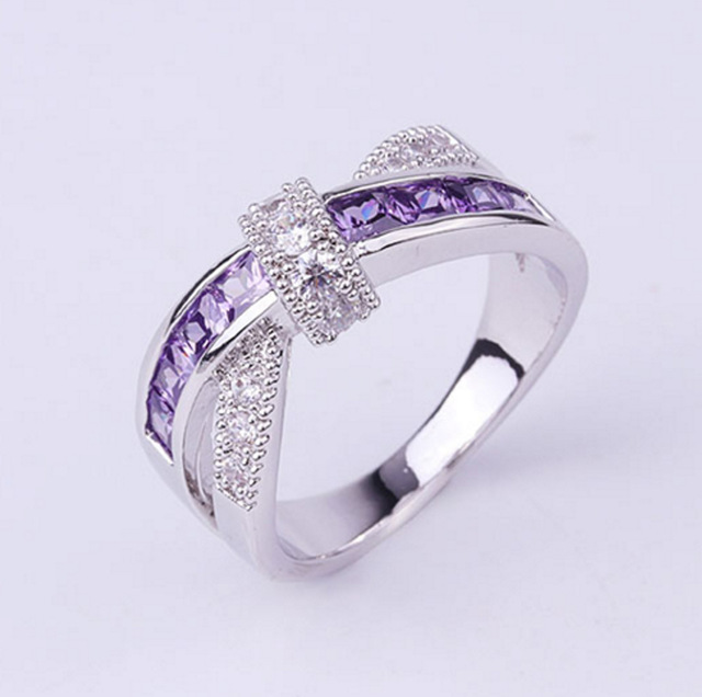 AAA Grade Purple Zircon Rings For Women 925 Jewelry Silver Plated Cross Lead & N