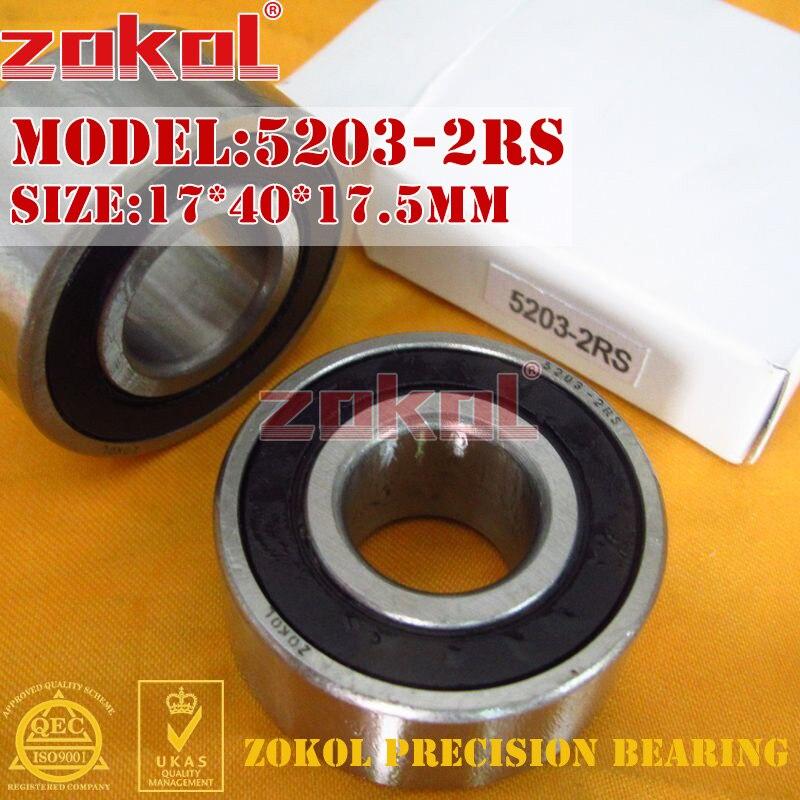 ZOKOL bearing 5203 2RS 3203 2RZ (3056203) Axial Angular Contact Ball Bearing 17*40*17.5mm