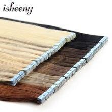 Isheeny 14 «18» 20 «22» 24 «лента в Пряди человеческих волос для наращивания Прямой Реми на клей Невидимый PU выдвижение утка В наличии 14 цветов Выберите