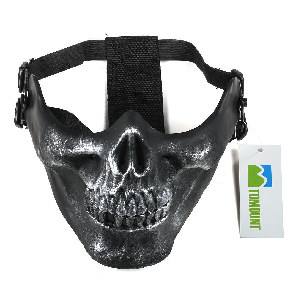 Prix pour Tomount Crâne Squelette Airsoft Paintball Moitié Du Visage Protéger Masque Casques Équipement de Paintball Masques Pour Paintball Jeux Noir NOUVEAU