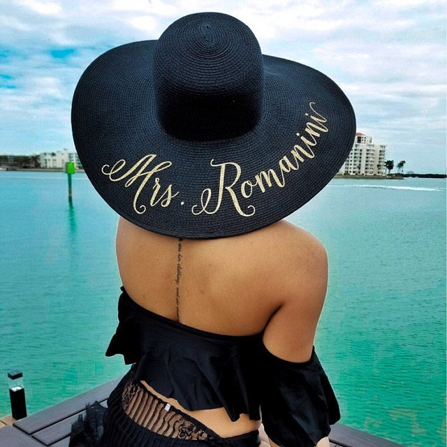 70e71250 Customize beach wedding bride floppy Mrs Sequin Sun Hats Honeymoon  bridesmaid maid of honor bridal shower party gifts favors