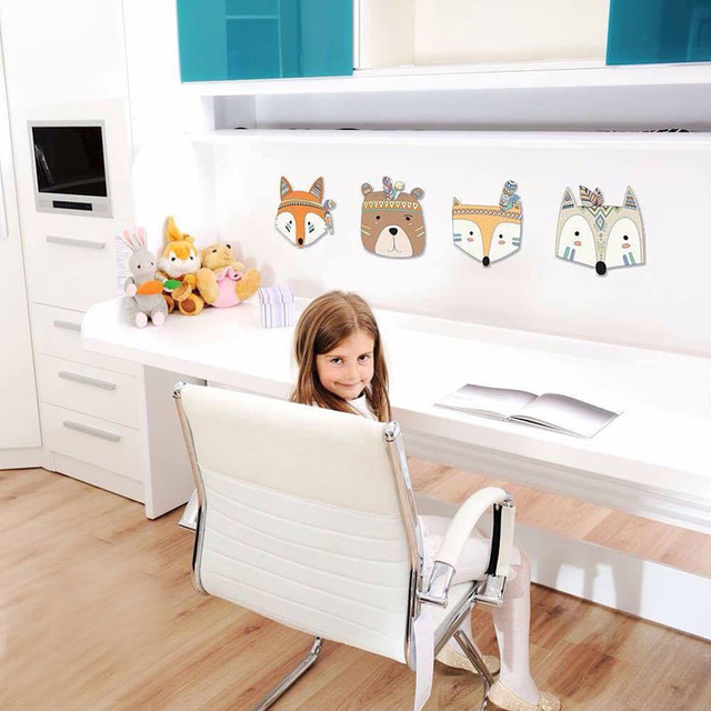Nursery Room Decor Nordic Fox Bear 3D Wall Stickers For Fox Kids Rooms Wall Stickers Animals Scandinavian Feather Wall Stickers
