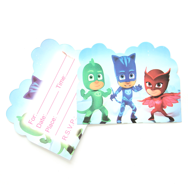 все цены на  10pcs/lot Pj Mask Theme Party Paper Invitation Card Birthday Party Decorations Kids Baby Shower Supplies Party Favors  онлайн