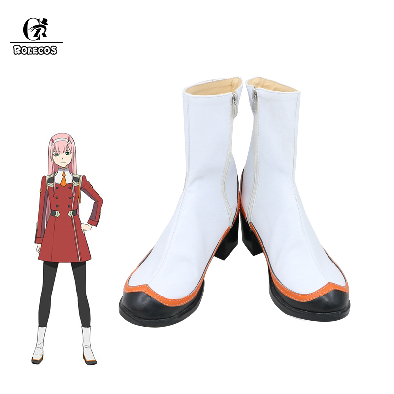 ROLECOS Nouvelle COQUELUCHE dans le FRANXX Cosplay Costumes Chaussures Zéro Deux Cosplay Blanc Bottes Anime Cosplay Chaussures