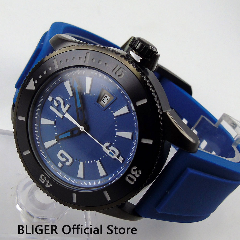 Solid BLIGER 43MM Blue Sterile Dial Black Ceramic Bezel PVD Coated Case Luminous Marks MIYOTA Automatic Movement Men's Watch BI3