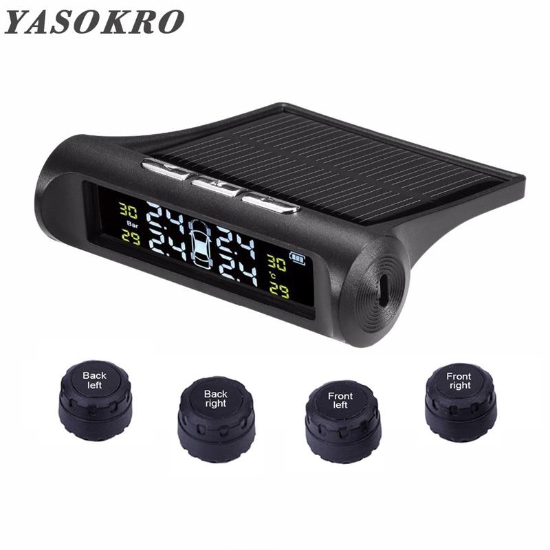 YASOKRO Car TPMS Tire Pressure Alarm Monitor System Solar Charging LCD Display 4 External Sensor Temperature Sensor