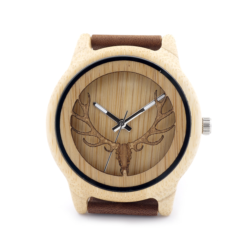 Mens Deer Head Design Buck Bamboo Wooden Watches Luxury Wooden Bamboo Watches With Leather Quartz Watch with box