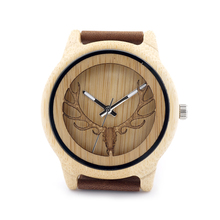 Mens Deer Head Design Buck Bamboo Wooden Watches Luxury Wooden Bamboo Watches With Leather Quartz Watch