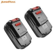 цена на Powtree For Porter Cable 2 Pack 18V 2000 mAh PC18B Cordless Power Tool Li-Lon Battery Replacement PCC489N PCMVC PCXMVC PC18BLEX
