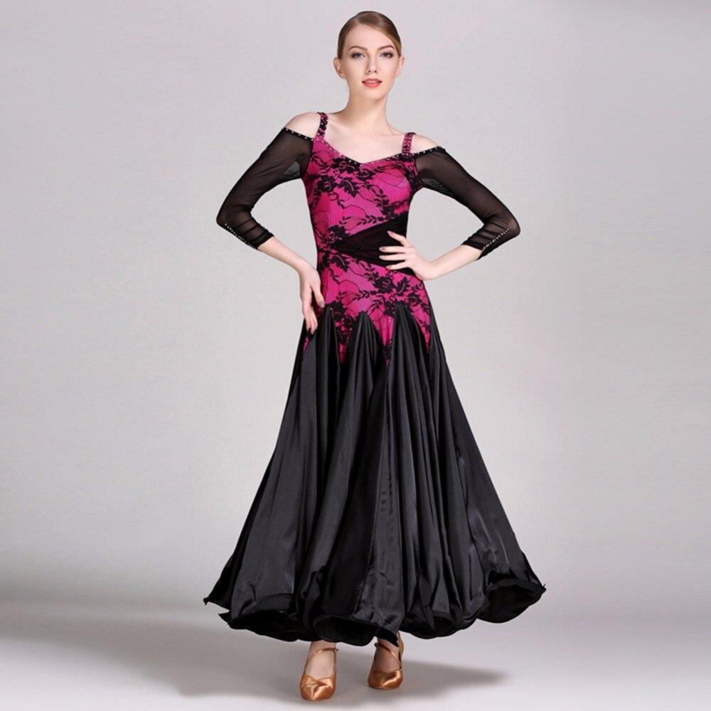 2018 New Ballroom Dance Dress Women Green/Rose Viennese Waltz Dress Jazz/Tango Dance Costumes Performance Vestido Danza Moderna