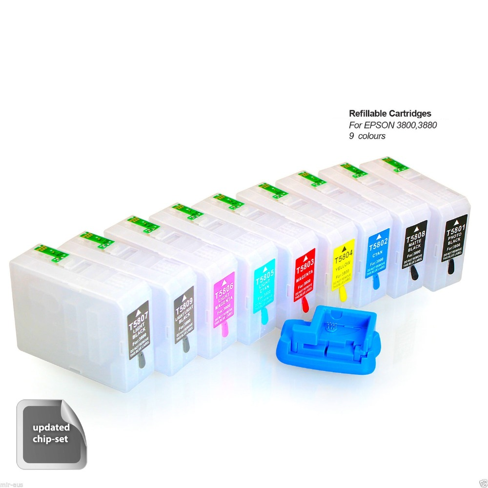 9 x Empty Refillable Cartridges for Epson  pro3890 3880 3800C 3800 3850 pro 3890 plus chip resetter 80ml t5802 refillable ink cartridge for epson 3880 3800 3805 for epson t5805 ink cartridges with senors 9 color set
