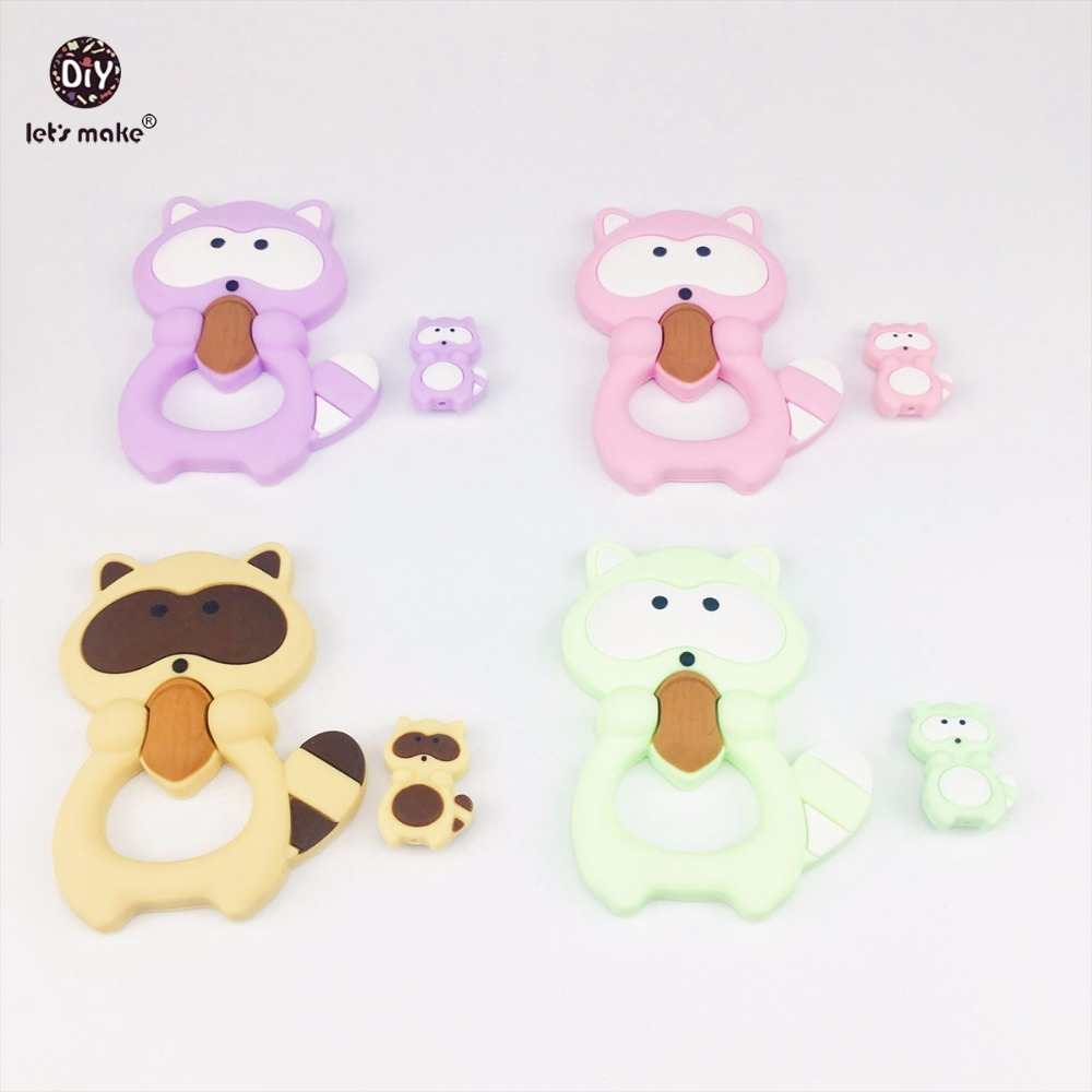 Lets Make Silicone Teether Raccoon Set 8pcs Baby Shower Gift BPA Free DIY Accessories Teething Necklace Made Beads Baby Teether
