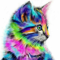 Frameless Abstract Cat Animal DIY Painting By Numbers Acrylic Paint On Canvas Drawing Paint By Numbers