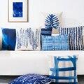 Sea Blue Plant Leaf Printed Cushion Anchor Pattern Marine Ship Throw Pillow Decorative Pillows Cojines Almofadas Kids Cushions