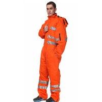 Оранжевый комбинезон для мужчин Утепленные зимние рабочие комбинезоны для мужчин спецодежды с Здравствуйте vis ленты
