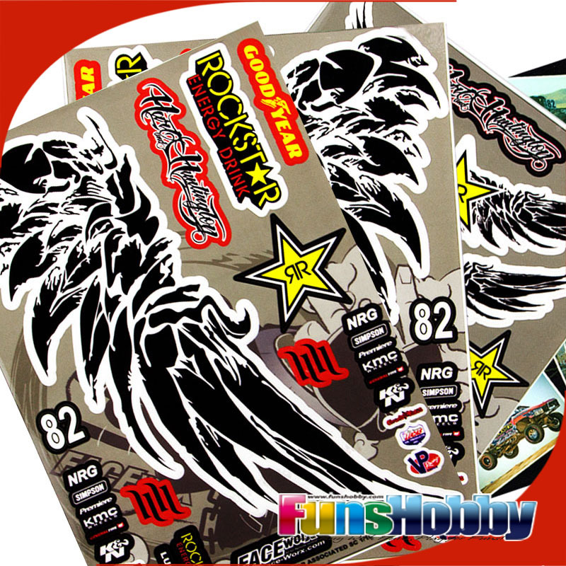 Faceworx 1 10 Rc Model Car Decal Sticker Paper Rockstar Wing Style