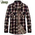 AFS JEEP 2016 spring new men's shirts men's brand fashion casual plaid shirt Slim Men's Shirts 2 colors S-3XL 95