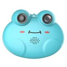 K5 dijital kamera Hd çocuks karikatür Anti Fall küçük kurbağa fotoğraf makinesi (mavi)