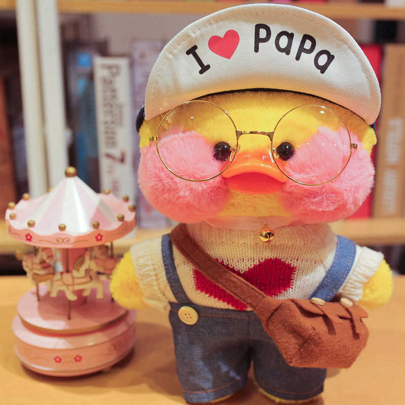 30cm Cute LaLafanfan Cafe Yellow Duck Plush Toy Creative Duck Stuffed Doll Soft Animal Dolls Baby Toys Birthday Gift For Girl