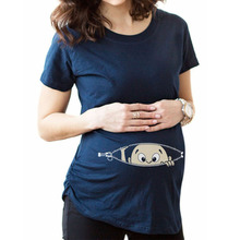 Gravid kvinna T-shirts Maternity Kläder Slim Cartoon Nursing Top O-Neck Graviditet Long Tee shirts Toppar Shortsleeve Cotton Tees