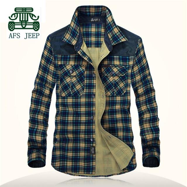 AFS JEEP hombres Otoño Delgado A Cuadros de Manga Larga Camisa, Solo Pecho Botones de la Camisa de Algodón de Ocio, Remiendo de La Manga bolsillo Camisas de Hombre