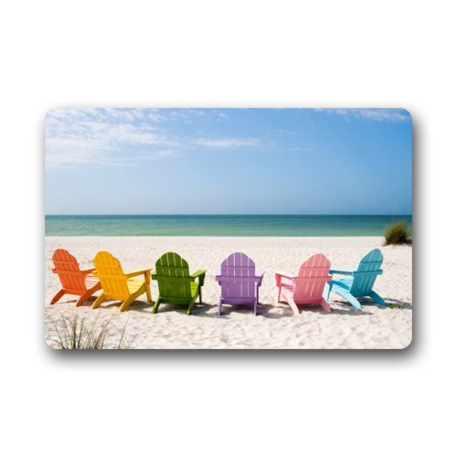 Home Gift & Decor Hawaii Summer Beach Scenery with Chairs Beach Chair Doormat Door Mat