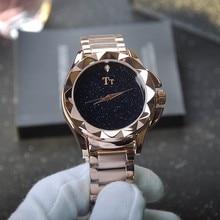 Fashion Women Rhinestone Ladies Dress Quartz Watch Blue Sandstone Stainless Steel Wristwatch reloje mujer montre femme