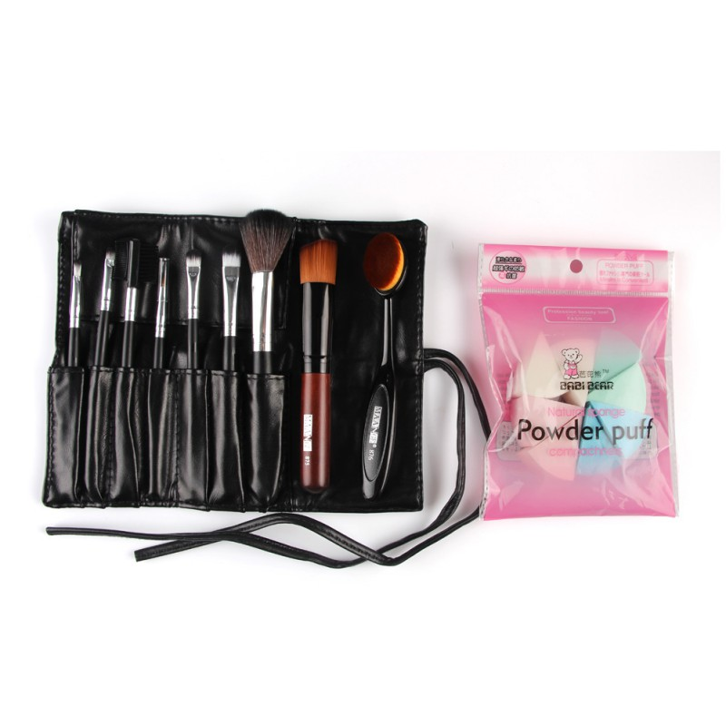 Pro 9 PCS Makeup Brushes Set Tools Make Up Toiletry Kit Wool Puff Foundation Powder Case Cosmetic Foundation Brushes 24pcs makeup brushes set cosmetic make up tools set fan foundation powder brush eyeliner brushes leather case with pink puff