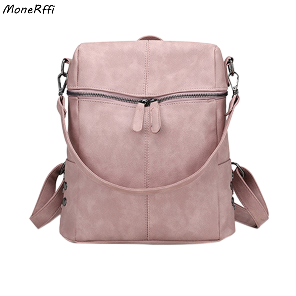 MoneRffi Casual Large Capacity Shoulder Bags Vintage Women Backpack Nubuck Leather Pu School Backpacks For Teenage Girl Mochila