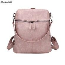 c6497168d4e32 MoneRffi Rahat Büyük Kapasiteli omuz çantaları Vintage Kadın Sırt Çantası  Nubuk Deri Pu Okul gençler için