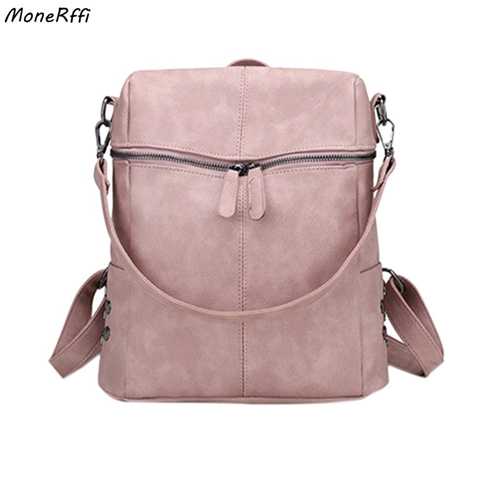 Monerffi casual grande capacidade bolsas de ombro do vintage mochila feminina nubuck couro plutônio mochilas escolares para adolescente