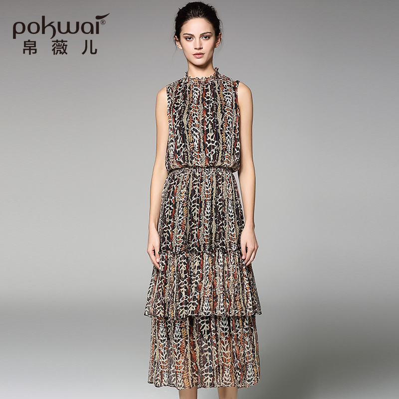 POKWAI Casual Summer Silk Dress High Quality Women Fashion 2017 New Arrival Sleeveless O-Neck Floral Draped A-Line Tank Dresses 2016 new arrival casual draped a line dress clothes with regular crew neck knee length sleeveless for baby girls kids