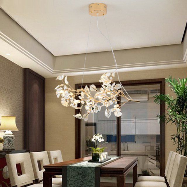 LED Restaurant Lamp Crystal Pendant Light Modern Minimalist Living Room Dining Bar Table